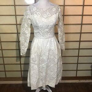 1950s lace wedding dress vintage small xs cream